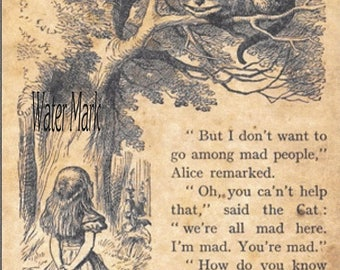 Alice in Wonderland and the Cheshire cat sepia *Story book page*Quilt art fabric block*Quilts,Pillows,Sachets,Frame