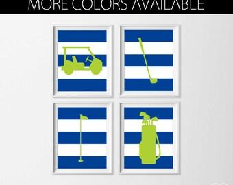Nursery Golf Art , Sports Nursery Art , Boy Navy Nursery Art , Blue Lime Boy Wall Art , Golf Wall Decor , Large Sports Art , Set Golf Art