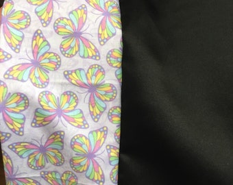 Handmade black satin & butterflies Pillowcase