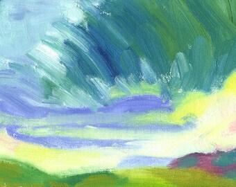 original painting landscape oil small 6x8 Storm Cloud Leaving