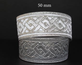 to order!  10 m Ribbon embroidered Jacquard * pattern Celtic braid * 50 mm wide
