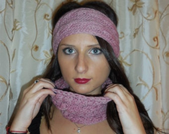 Raspberry Knit Wool Headband, Winter Ear Warmer, Chunky Pink Headband.