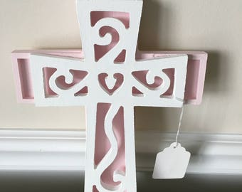 Easter decoration, Shabby chic, wood,  pink and white, religious,  home decor, crucifix, cross,