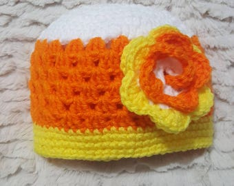 Candy Corn crocheted hat