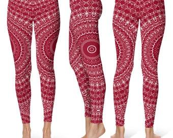 Burgundy Leggings Yoga Pants, Printed Yoga Tights for Women, Red and White Mandala Pattern