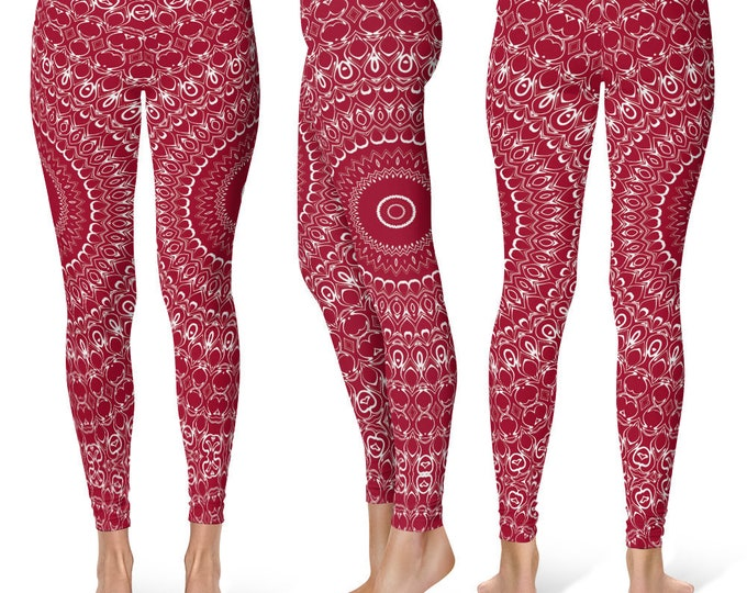 Burgundy Leggings Yoga Pants, Printed Yoga Tights for Women, Red and White Mandala Pattern