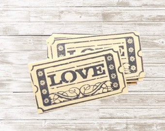 Tiny Love Embellishments ... Small, Scrapbooking, Pocketletters, Cardmaking, Paper Embellishment, Wedding, Ticket, Tickets, Ticket Stub