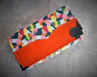 """Portfolio companion women """"Accomplice"""" trendy colours green, orange and multicolored pattern"""