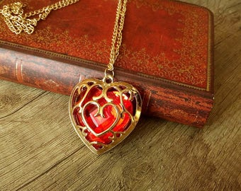 Legend of Zelda Heart Container Necklace or Keychain