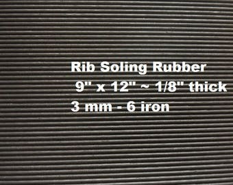 Shoe Rubber, Fine Rib Soling Rubber, Heavy Tread Rubber, Waterproof Soles, SoleTech Rubber, Outdoor Shoe Supplies, 9 X 12 Sheet
