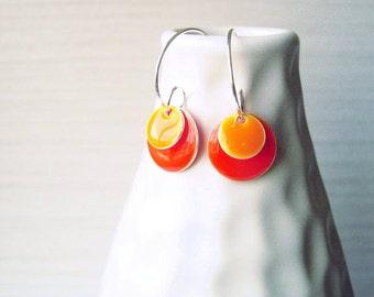 Enamel Earrings - Orange Jewelry, Silver, Hoops, Modern, Drop, Geometric Jewellery, Contemporary