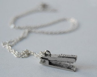 Teeny Tiny Silver Stapler Necklace | Cute Stapler Charm Necklace | Office Gift
