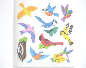 Sandylion Birds Semi gloss paper Stickers - 3 repeat squares
