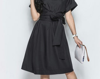Black dress Spring black dress Summer dress for woman Boho dress Knee dress Cotton Everyday halter evening dress Party dress Occasion dress