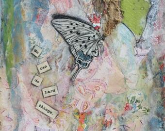 Hard Things, 5x7 notecard of original mixed-media collage