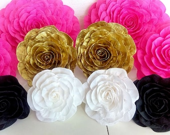 10 large crepe paper flowers giant paper flower bridal kate shower spade baby flowers pink gold white black wedding bakdrop Paper wall party