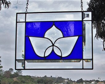 "Cobalt Blue Beveled Glass ""Lotus"" Flower Stained Glass Window Panel."