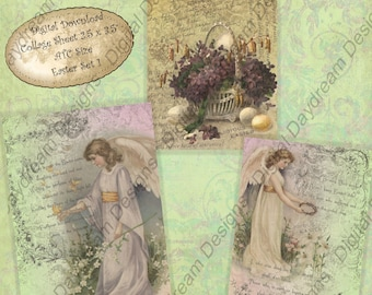 Instant Download Digital Printable Collage Sheet - ATC ACEO 2.5 x 3.5 size - Easter Collages Set 1