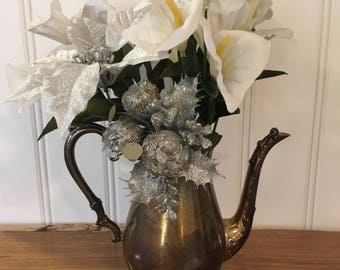 Vintage Sheridan Silverplate Teapot Lid Missing Table Centerpiece Flower Vase Cottage Style Holiday Dining Decor