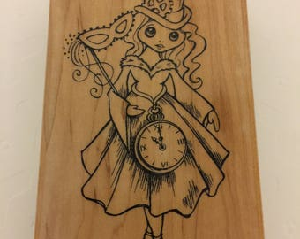 Halloween Magic Steampunk inspired wooden rubber stamp