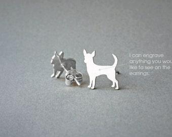 CHIHUAHUA NAME Earring - Chihuahua Name Earrings - Personalised Earrings - Dog Breed Earrings - Dog Earring