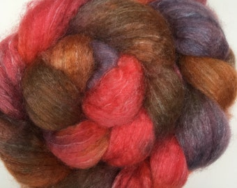 Spinning Fibre Bluefaced Leicester & Silk hand dyed superwash (E06)