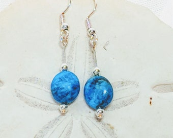 Sterling silver earrings // Kyanite earrings //Handmade earrings //Kyanite Sterling silver earrings // Kyanite jewelry / Silver wrap jewelry