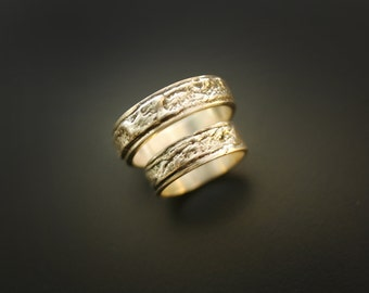 Let your Love Burn Wedding Rings: Created from Fire & Bark in 14K Gold