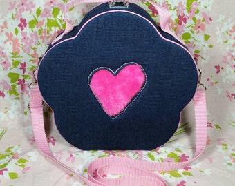 90s Vintage Box Purse Denim Flower Pink Faux Fur Claires Limited Too
