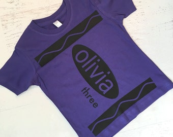 Custom Crayon T-shirt in Purple for Birthday Party