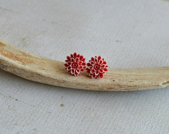 Red and White Flower Earrings- Titanium Flower Studs- Red and White Posts- Titanium Earrings- Dahlia Flower Earrings- Hypoallergenic Studs