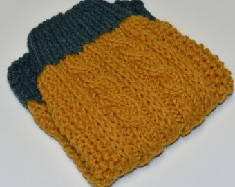 SHIPS TOMORROW - SALE -  100% Wool - Cable Knit Mustard and Jade Green Dog Sweater -  size xsmall 12''