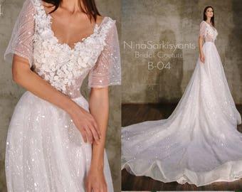 Short Sleeves Bateau Neck Beaded Embellishment Elegant Vintage Art Deco A line Wedding Dress Open V Back Sweep Train Sparkle Bridal Gown
