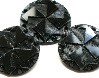LG Pinwheel BUTTONs, 1800s Victorian black glass, 2 sizes.