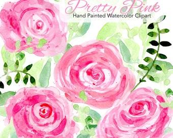 Pink Roses Watercolor Flowers | Wedding Flowers Clip Art | Wedding Clipart Set | Wedding Bouquet | DIY Clip Art | Digital Florals | Card