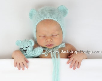 Newborn Angora Bear Bonnet and teddy  bear toy set  Photography prop newborn hat