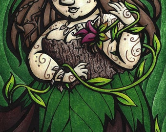 5x7 inch gnome woman druid dryad forest fantasy art print, Force of Nature
