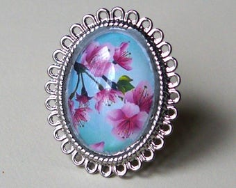 Turquoise and pink cherry blossoms fuchsia 18x25mm glass cabochon handmade ring