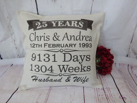 Personalised 25th Anniversary Cushion