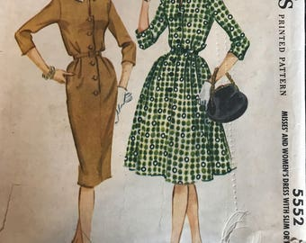 Vintage 50s McCall's 5552 Dress Pattern-Size 14 (34-26-36)