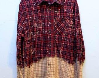 Bleached Splatter Print Flannel Black/Red