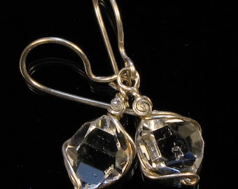 11mm aaa HERKIMER DIAMOND Quartz Crystals in Handmade Argentium Sterling Silver Wire Wrap Dangle Earrings Intuitively Inspired Designs