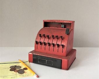 Toy Cash Register, Vintage Cash Money Drawer, Imperial Toys, 1960s General Store, Pretend Play, Kids Tin Toys, Red Metal Cash Register