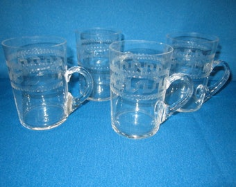 Antique Lot of 4 Exquisite Etched Glass Capuccino Mugs with Greek Key Design