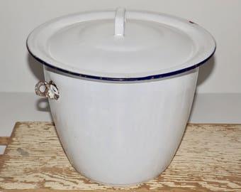 """White enamel bucket with blue trim,lid,enamel pail,white enamelware,10"""" white pot,enamel storage,flower pot,slop bucket,garden planter"""