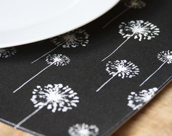 Placemats - White Dandelions on Black - Set of 4