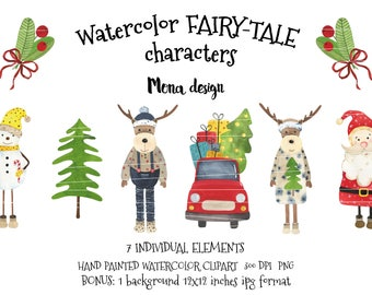 Watercolor FAIRY-TALE characters, scrapbook