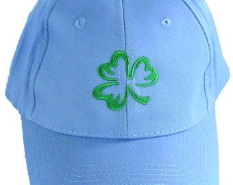 Shamrock Monogram Baseball Hat Luck of the Irish Cap Bright Blue READY TO SHIP! St. Patrick's Day Clover Custom Embroidered