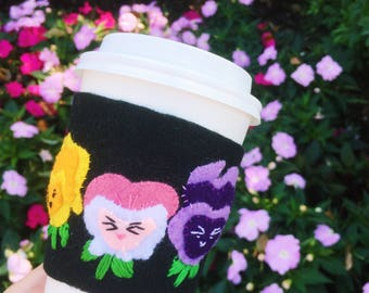 Golden Afternoon Pansy Alice in Wonderland Disney Felt Coffee Cozy / Felted Coffee Cozy / Felt Disney Cozie / Cute Coffee Cozy