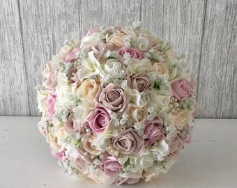 Taupe, Blush, Champagne & Ivory Rose and Hydrangea Brides Bouquet - Finished with Brooches and Lace
